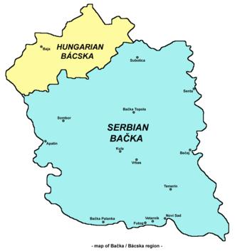 Bačka - Map of the Bačka region