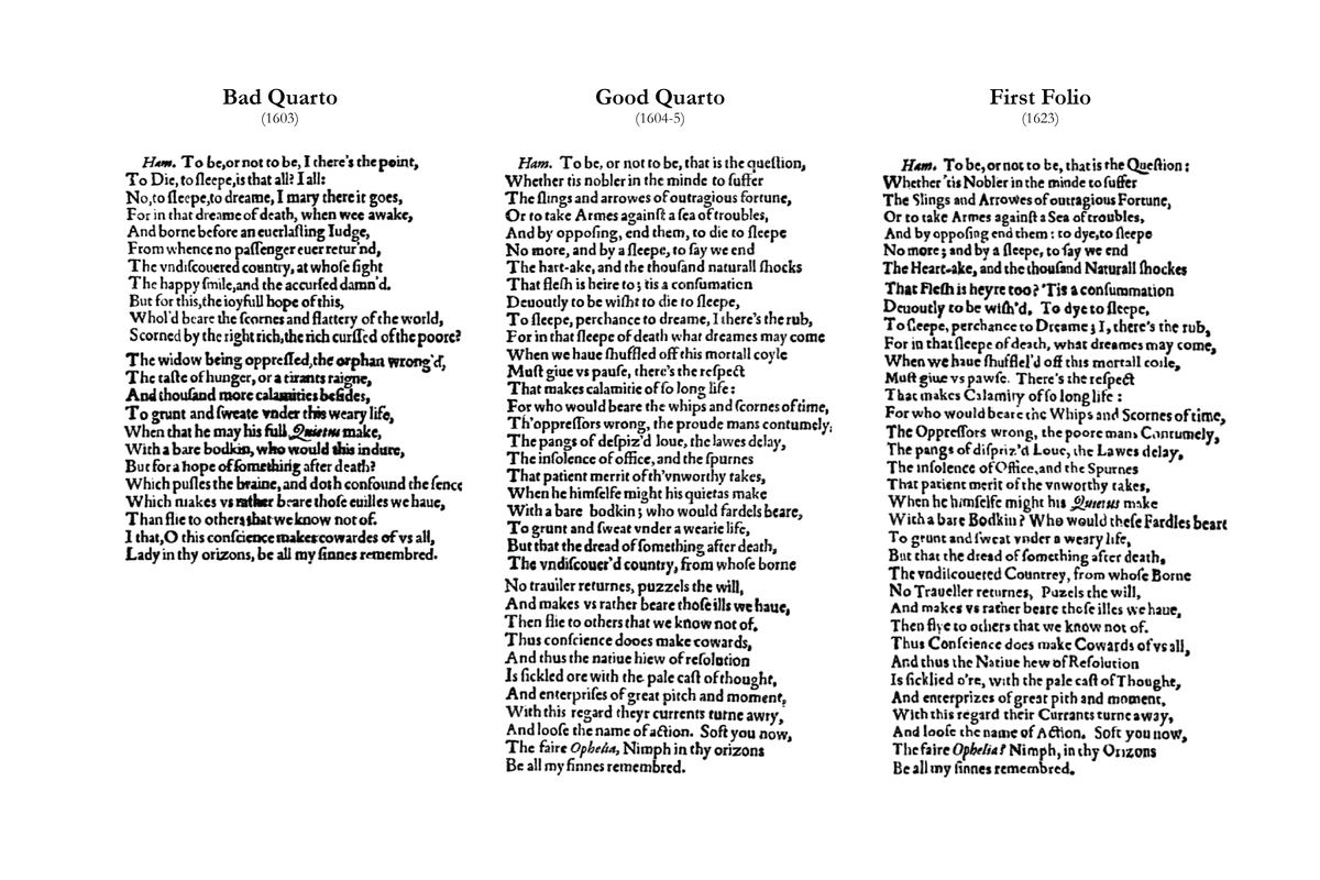 early texts of shakespeare s works