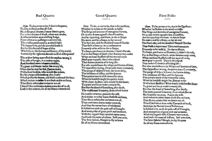 "Bad quarto - Comparison of the ""To be, or not to be"" soliloquy in the first three editions of Hamlet"