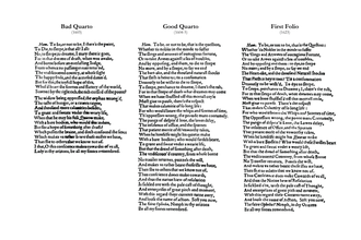 """Bad quarto - Comparison of the """"To be, or not to be"""" soliloquy in the first three editions of Hamlet"""