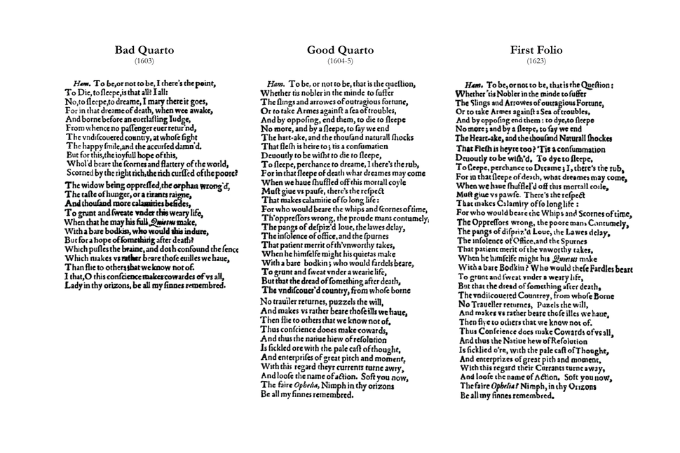 Bad quarto, good quarto, first folio