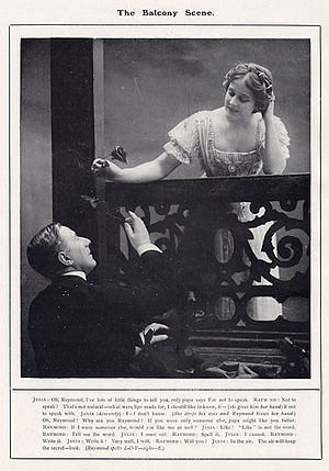 Farren Soutar - Edna May and Farren Soutar in the balcony scene in The Belle of Mayfair (1906)