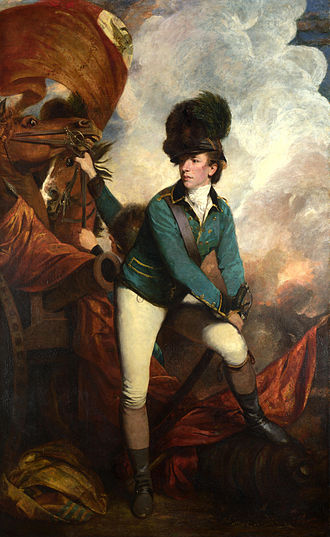 "Banastre Tarleton - Lieutenant-Colonel Banastre Tarleton by Sir Joshua Reynolds, in the uniform of the British Legion, wearing a ""Tarleton Helmet"". National Gallery, London."
