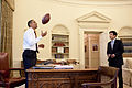 Barack Obama, Eugene Kang, and a football (June 24, 2009).jpg