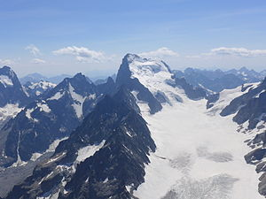 Barre des Écrins - The Barre des Écrins (4,102 m) in Hautes Alpes, France and the Glacier Blanc