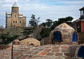 Bathes and Metekhi church, Tbilisi, Georgia.jpg