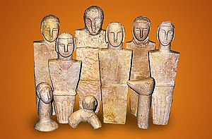 Xagħra Stone Circle - Stone figurines found at the Xagħra Stone Circle, now displayed at the Ġgantija museum