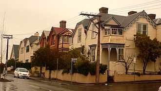 Battery Point, Tasmania - An assortment of weatherboard and brick row houses in Battery Point