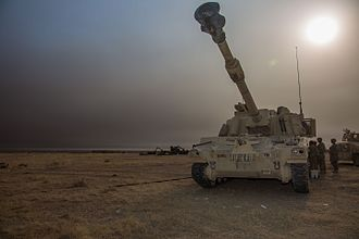 American-led intervention in Iraq (2014–present) - A U.S. Army M109A6 Paladin near Mosul, 16 October 2016