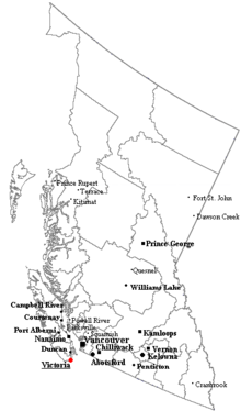 Outline map of British Columbia with significant cities and towns.
