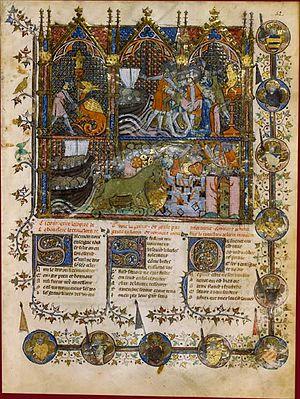 Roman de Troie - Miniature from a 14th-century manuscript of Le Roman de Troie.