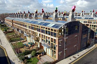 Energy in the United Kingdom - Solar panels on the BedZED development in the London Borough of Sutton