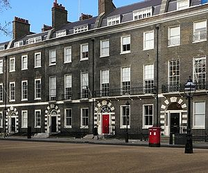 London stock brick - Georgian houses in Bedford Square, London built from London stock bricks showing discolouration due to atmospheric pollution