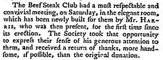 "Beefsteak Club - 1793 press report – ""Club"" and ""Society"" are used interchangeably"