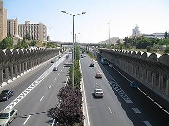 Highway 50 (Israel) - Northward toward Kiryat Moshe Interchange with noise barriers