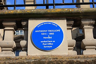 Anthony Trollope - Plaque on Custom House in Belfast, where Trollope maintained his office as Postal Surveyor for Northern Ireland.