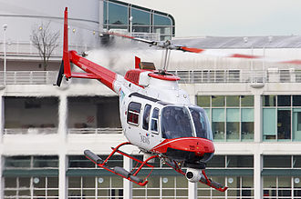 CIVT-DT - CIVT's news helicopter Chopper 9 (a Bell 206 L-4 Long Ranger IV) taking off from the Vancouver Harbour helipad.