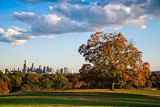 Nicknames of Philadelphia - Philadelphia skyline as seen from Belmont Plateau, Fairmount Park.