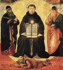 "Detail uit ""Triumph of St. Thomas Aquinas over Averroes"" door Benozzo Gozzoli (1420-1497)"