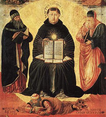 Saint Thomas Aquinas was one of the most influential scholars of the Medieval period. Benozzo Gozzoli 004a.jpg