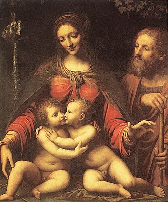 The Holy Infants Embracing - Holy Family with the Infant St John, by Bernardino Luini in the Prado