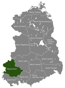 Location of Bezirk Erfurt within the German Democratic Republic