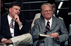 Billy Graham - Graham with his son, Franklin, at Cleveland Stadium, June 1994