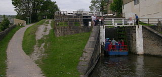 Bingley Three Rise Locks staircase of three locks on the Leeds and Liverpool Canal at Bingley, West Yorkshire, England