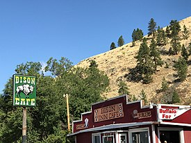 Bison Inn Cafe - Buffalo burgers and shakes at the Bison Cafe in Ravalli, Montana 01.jpg