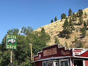 Ravalli, Montana - Image: Bison Inn Cafe Buffalo burgers and shakes at the Bison Cafe in Ravalli, Montana 01
