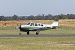 Bizair Aircraft (VH-FIM) Beech A36 Bonanza taxiing at Temora Airport.jpg