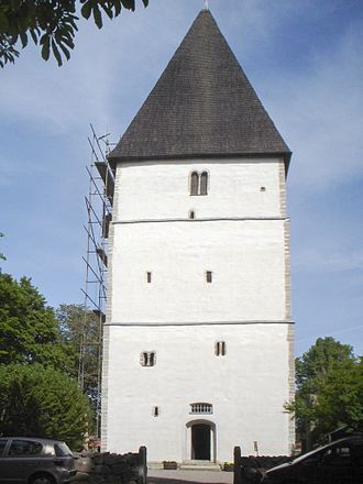 Östergötland - The church tower at Bjälbo