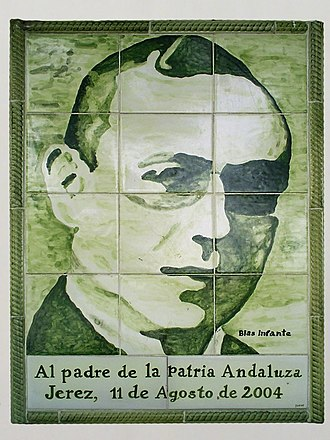 Andalusia - Portrait of Blas Infante, executed in azulejos, located on the avenue in Jerez de la Frontera named in his honor.