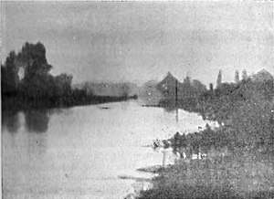 """Bedford Level experiment - Picture of the Bedford Level  """"carried out in misty and very unsatisfactory weather on May 11th 1904 before Lady Blount and several scientific gentlemen""""."""