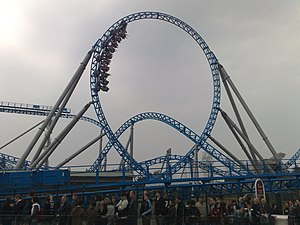 Steel roller coaster - Blue Fire, an inverting launched roller coaster, at Europa-Park, Germany.