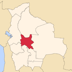 Location of Cochabamba Department in Bolivia