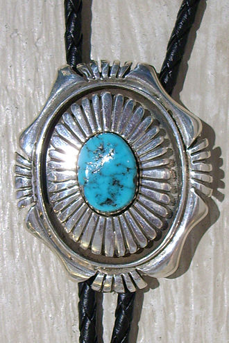 Western wear - Navajo bolo tie made from turquoise and silver.
