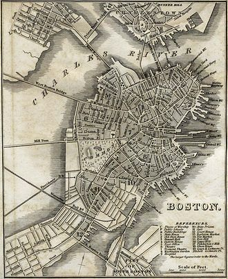 Fort Point, Boston - 1842 map showing the location of Fort Hill (item 15, in the southeast of downtown)