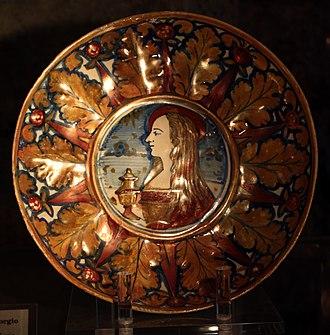 Lusterware - Mary Magdalene on Italian maiolica dish, Gubbio, 1530-40