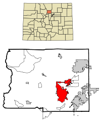 Boulder County Colorado Incorporated and Unincorporated areas Boulder Highlighted.svg
