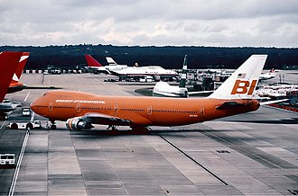 Braniff International Airways - Boeing 747-100 at London Gatwick Airport in 1981