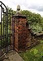 Brick pillar and gate at Sundial Garden Hatfield House Hertfordshire England.JPG