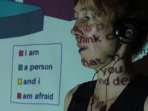 """Helen Varley Jamieson - Helen Varley Jamieson performing in """"make-shift"""", Brisbane, Australia, February 2012"""