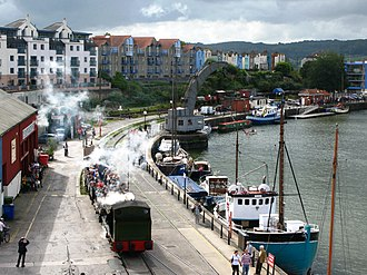 Bristol Harbour Railway - Train near the Fairbairn steam crane
