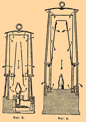 Safety lamp - Mueseler lamp (on the left) and a derivative of the Geordie