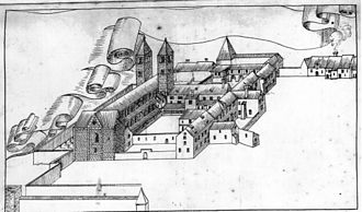 Scots Monastery, Regensburg - View of the abbey in 1640