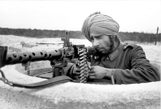 Indian Legion - A soldier of the Legion with an MG 34 in Bordeaux, in March 1944