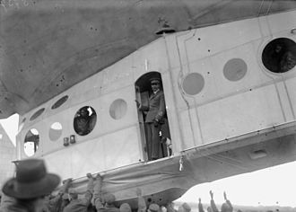 Airship Italia - The Italia landed at Stolp in April 1928 before starting the polar flights. In this photograph Nobile is seen with his dog Titina.