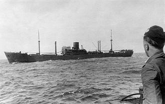 Battle between HMAS Sydney and German auxiliary cruiser Kormoran - Kormoran in 1940, view from a German U-boat