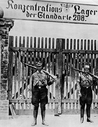 Uniforms and insignia of the Sturmabteilung - SA guards at Oranienburg concentration camp, 1933